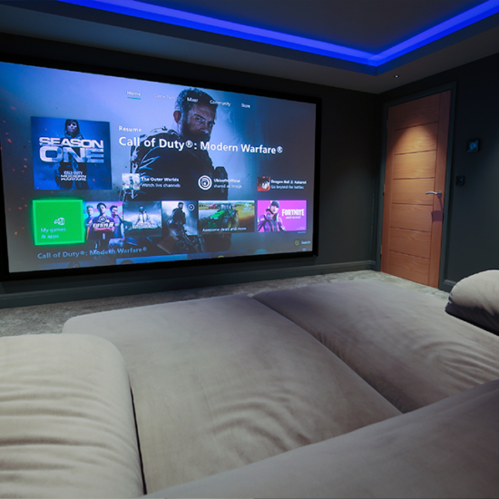 Gaming Room screen for a residential project in Exeter