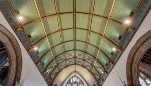Erco track and spotlights to uplight the Chancel roof in Plympton St Maurice Church
