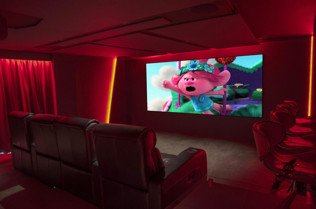 Home cinema with red LED lights, Poppyseeds on screen