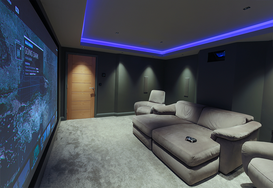 gaming room screen view or a home in devon