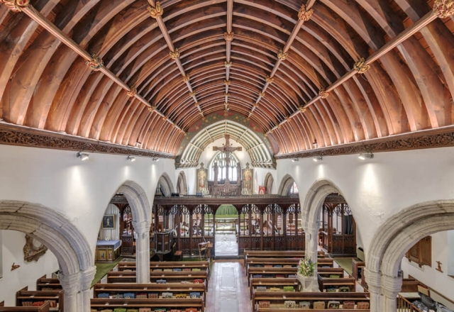 Erco track and spotlights with EcoLED strip lighting in Plympton St Maurice Church