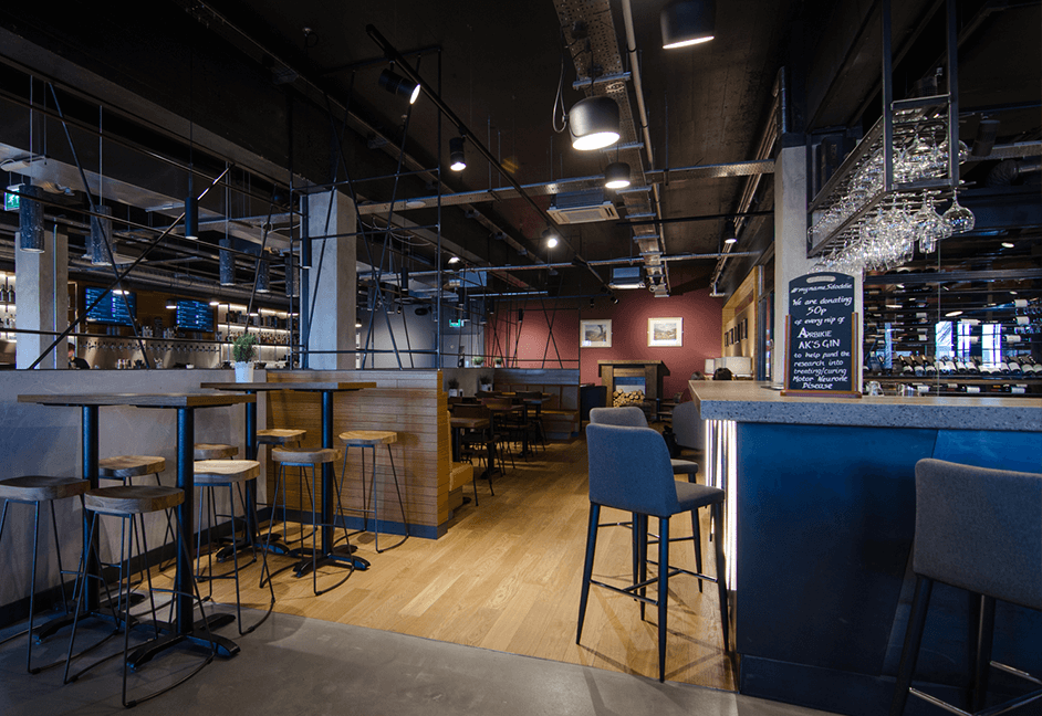 industrial themed lighting for dinning area