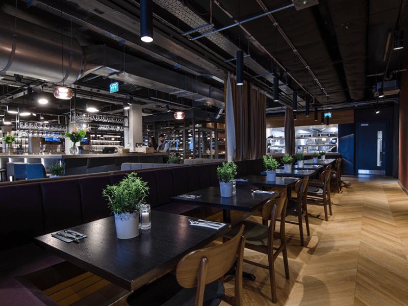 industrial themed lighting for modern bar