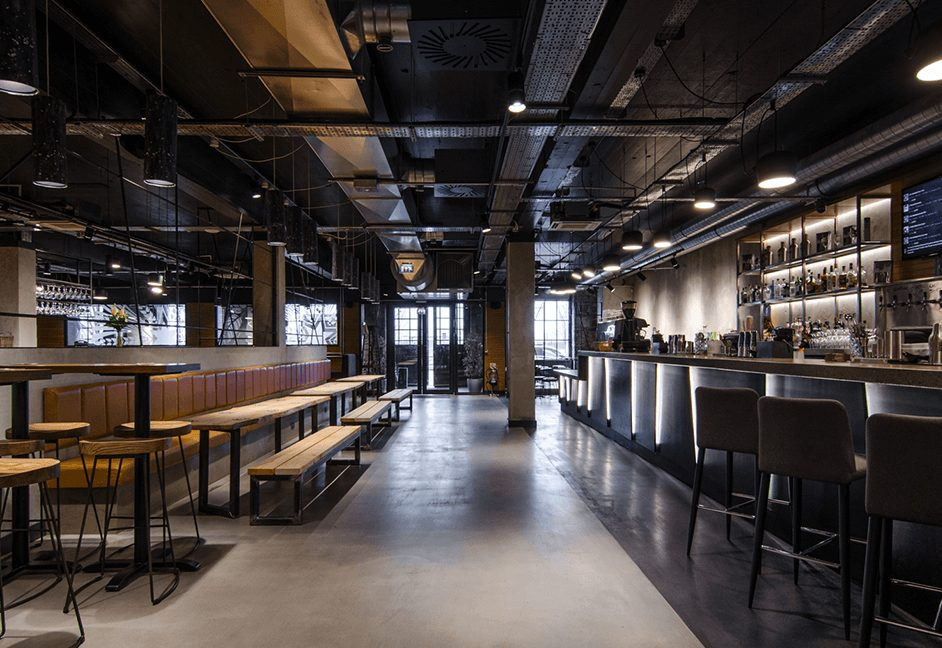 industrial lighting design scheme for bar and restuarant
