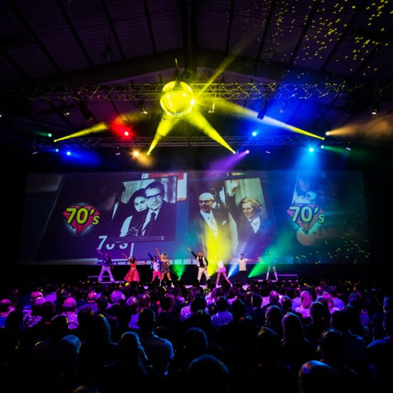 70's themed corporate entertainment for large conference