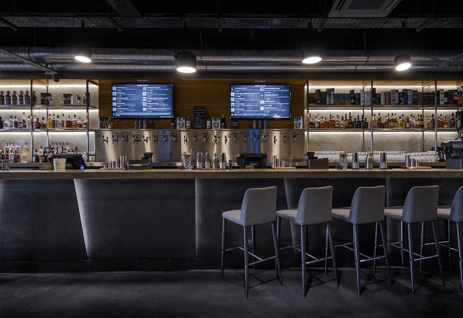 contemporary bar lighting and interior design