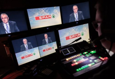 Backstage behind the scenes vision mixing for SPAR Tradeshow