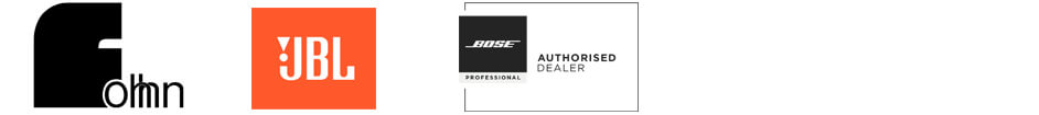 Logos for Audi solution partners and manufacturers Fohhn, JBL, Bose, Bowers and Wilkins, Sonance