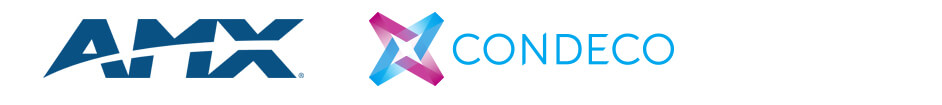 Logos for Room Booking manufacturers AMX, Condeco, Onelan