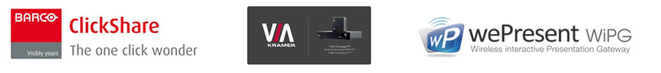Logos for Wireless Presentation Solutions Suppliers and Manufacturers, Barco Clickshare, Kramer, WePresent, WIPG