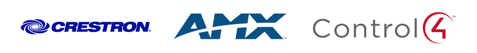 Logos for Control solutions partners and manufacturers Crestron, AMX, Control 4