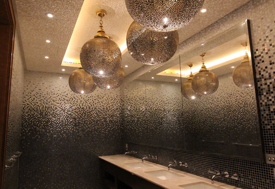 Decorative lighting pendants in Bathroom wet room sauna with downlights for private property