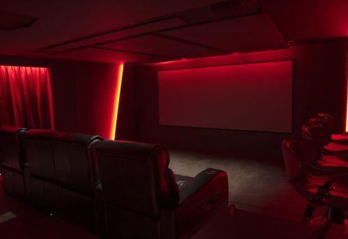 Home cinema with lighting controls near Cornwall