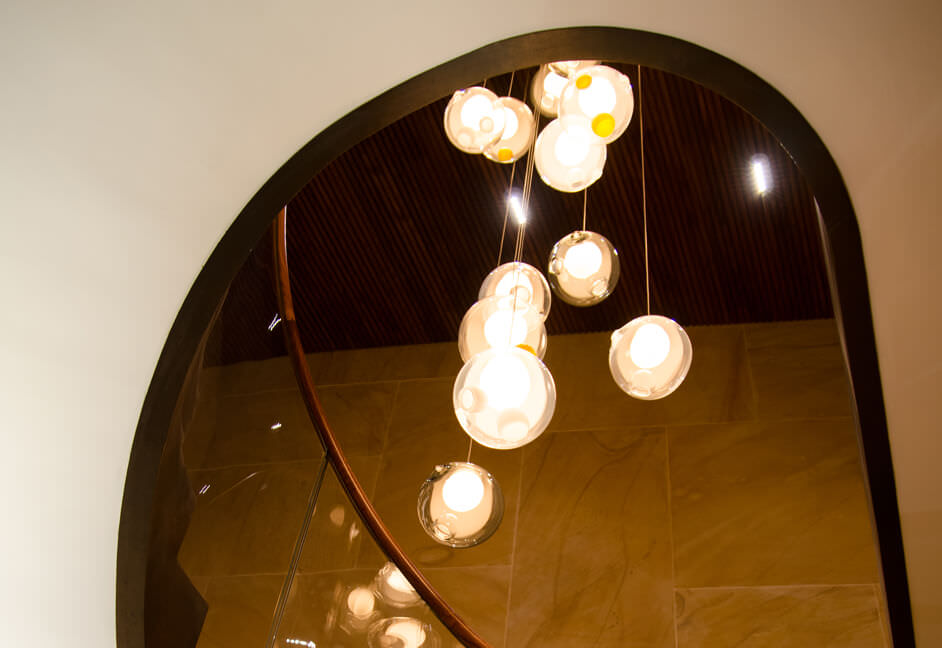Pendant lighting in luxury private home with full home automation and lighting control