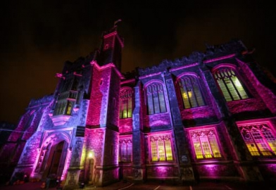 Bristol Grammar School with external building facade lighting