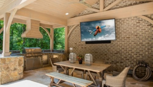 Outdoor TV on wall