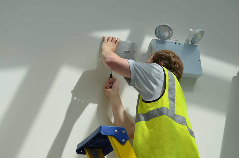 AV Engineer working at height