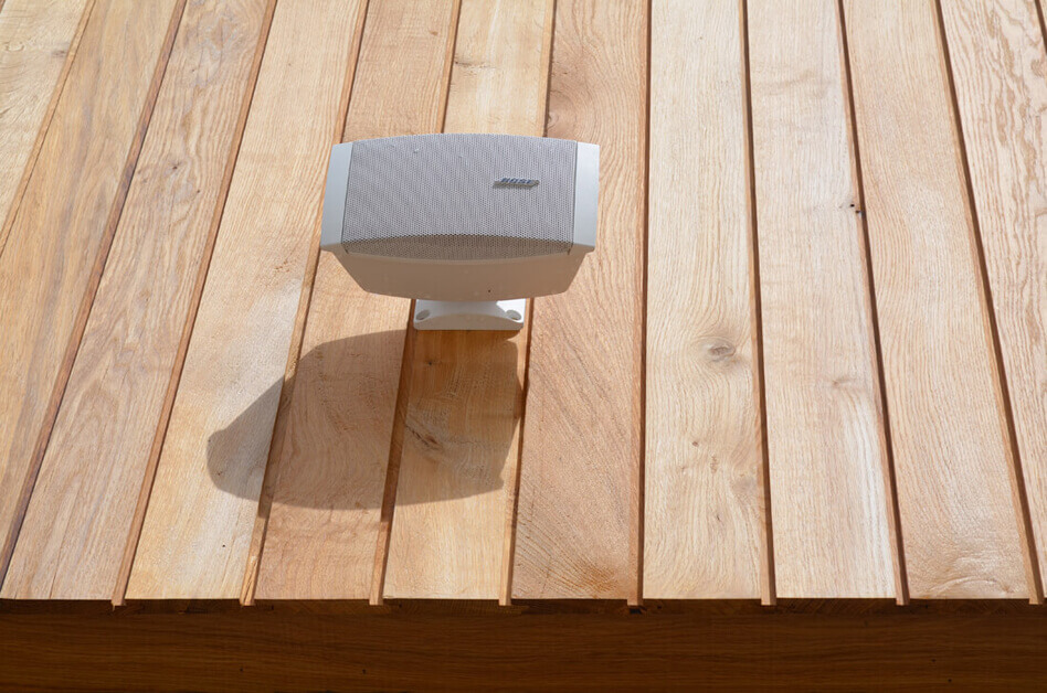 Wall mounted exterior audio solution
