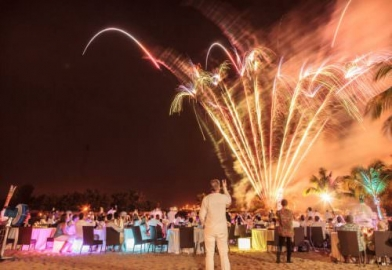 closing ceremony with fireworks on beach