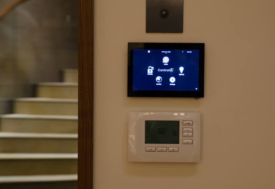 Control 4 thermostat and Control 4 wired touch panel in luxury home in St Andrews