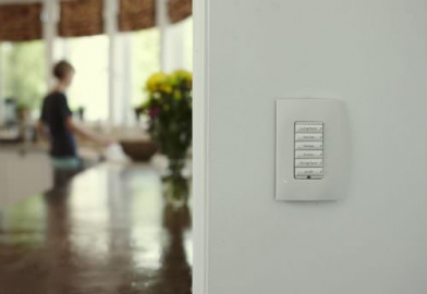 Lighting control keypad from Control 4 in kitchen