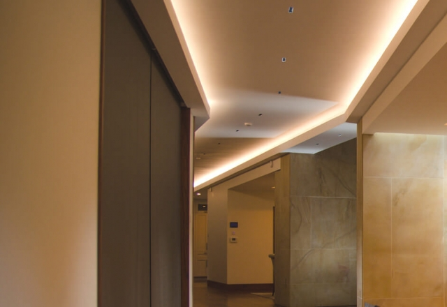 Walkway hallway lighting in ceiling cove coffer lighting from KKDC colour tuneable dali dimmable
