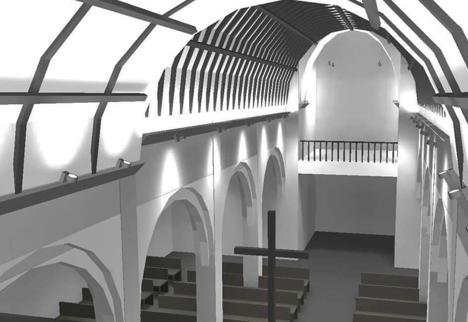 Screenshot of Dialux model for a church in devon with lighting design including emergency lighting