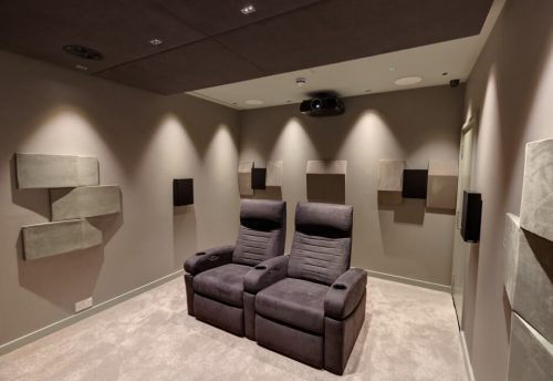 Home Cinema featuring kaleidescape media server, ineva cinema seating, trinnov, epsom projector