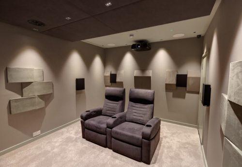 Home Cinema featuring kaleidescape media server, ineva cinema seating, trinnov, epsom projector