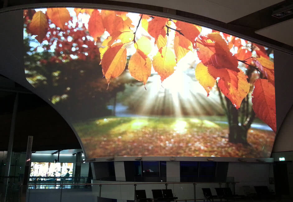 Large scale projection system at Dublin airport for advertising