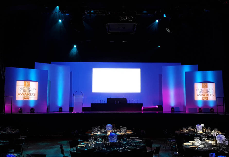 Executive PA Awards at London O2 arena with staging, relay screen, projection and sound system