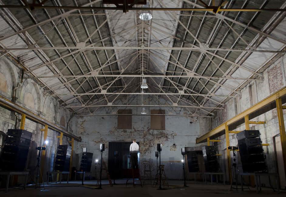 event lighting installation into warehouse