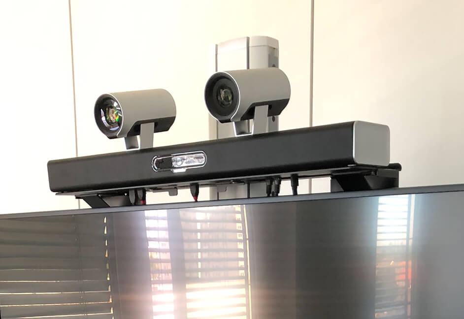 video conferencing cameras mounted on screen
