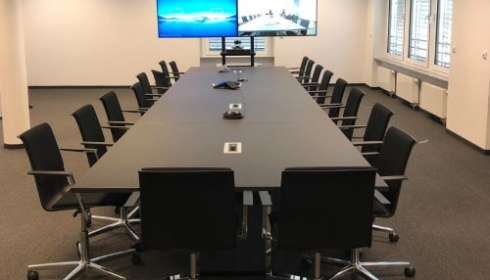 Boardroom with video conferencing equipment