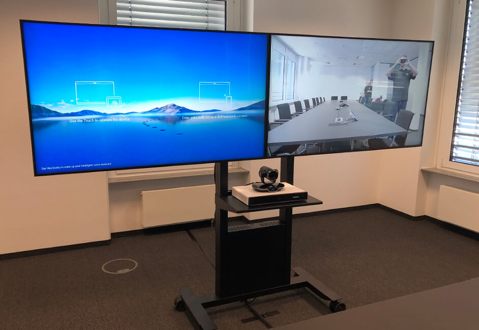 Duo plasma screens with video conferencing