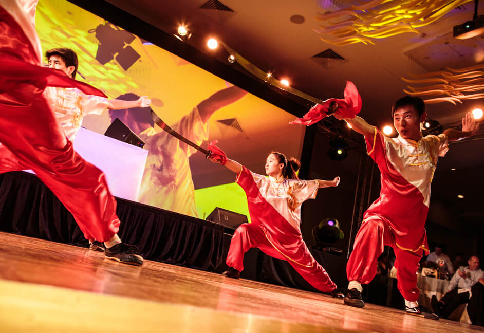 Sword dance and demonstration at gala dinner evening performance
