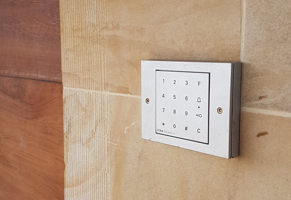 Gira keypad for door entry access in a luxury holiday home