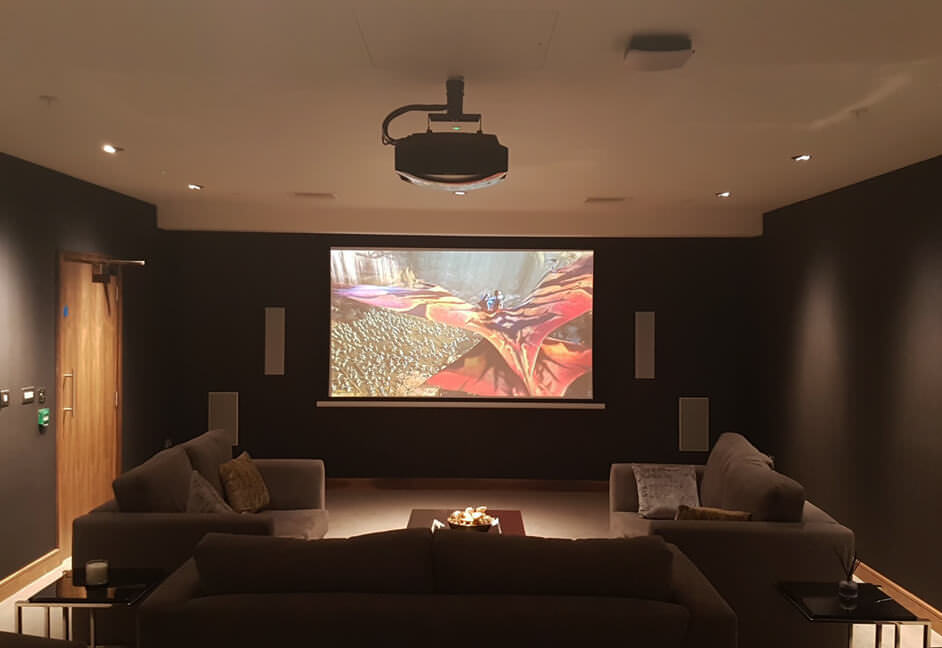 Media room in Nine Elms London with projection and sound system