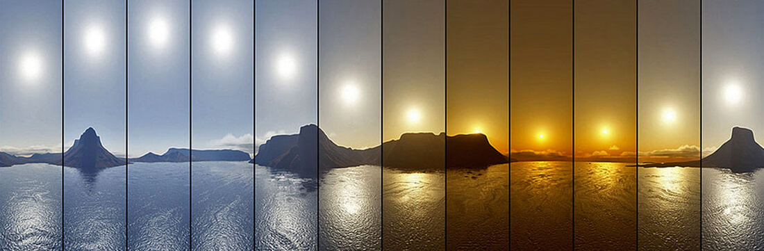 Landscape image showing different colour temperatures throughout the day which is used to create a circadian lighting curve