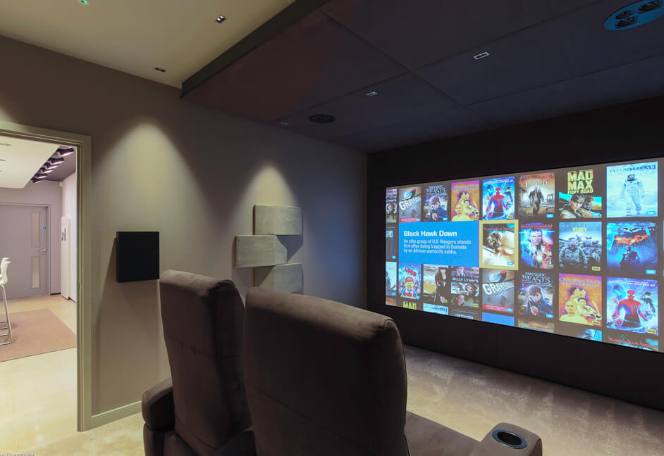 Kaleidescape screen in cinema demo room