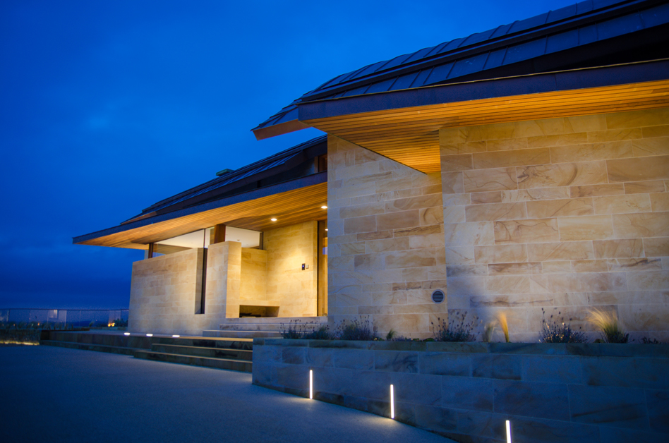 External view from Garage of Ladies Lake entrance with KKDC in wall lighting and iGuzzini wall washers