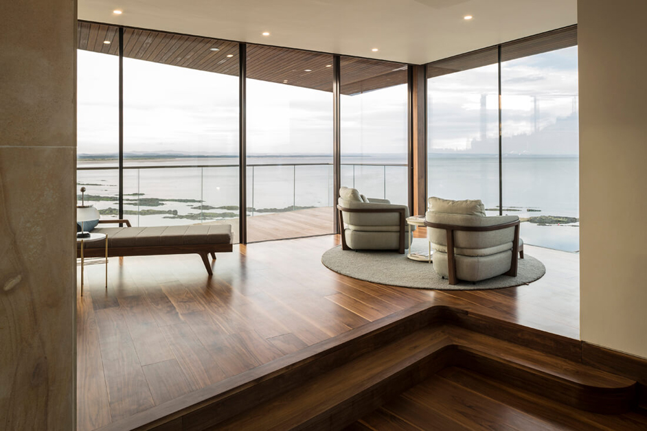 Sun Lounge in a Private luxury holiday home in Scotland with full home automation and control system for AV and lighting