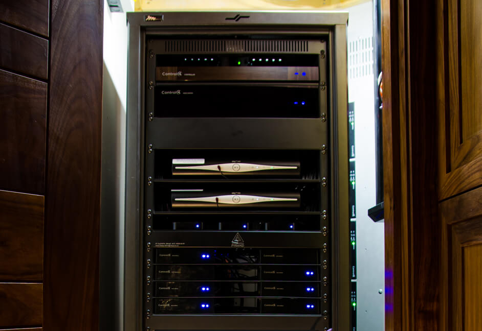 AV rack for whole automated home in Scotland to control lighting, audio, video, heating, comfort and CCTV