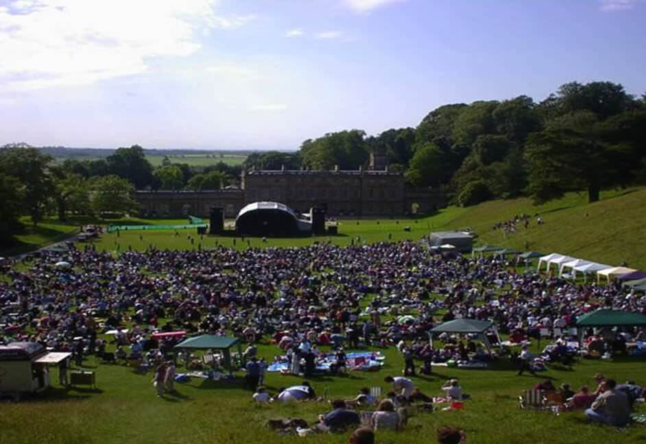 Lanhydrock festival with staging, sound system