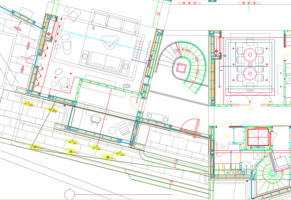 Screenshot of lighting overview plan for a private property showing high level lighting