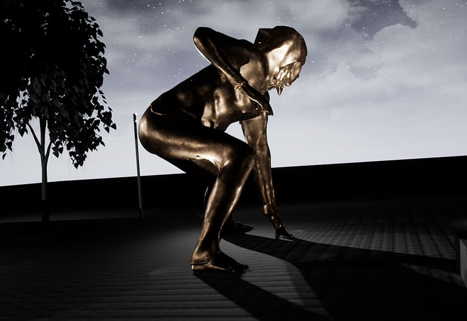 3D image of bronze Messenger Sculpture at night Plymouth UK