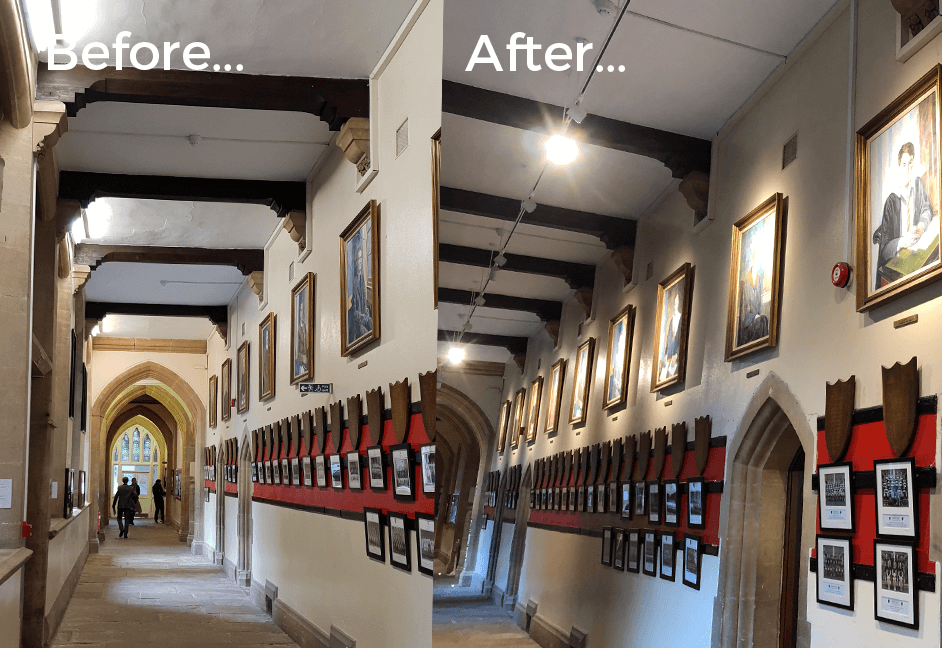 Lighting design before and after pics using track and spot lighting for paintings