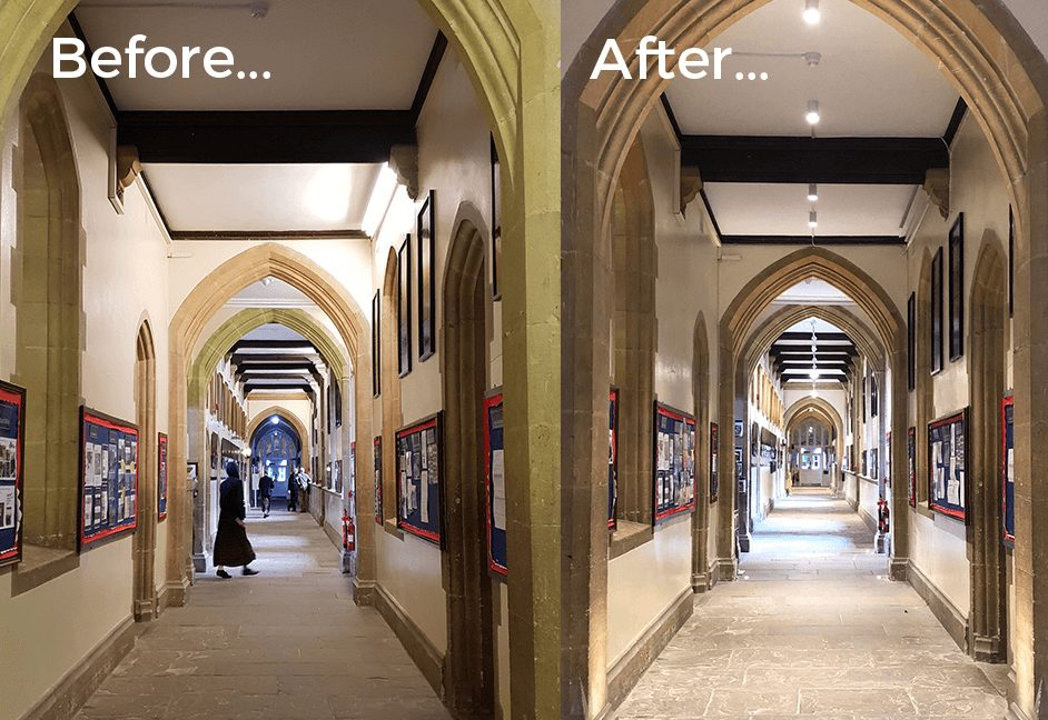 Corridor lighting install before and after