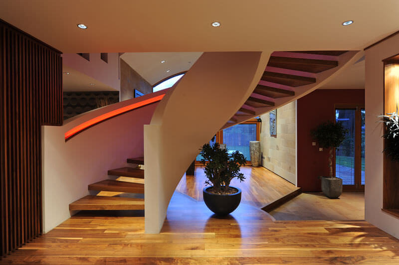 NEW MILNE with red LED lighting on staircase