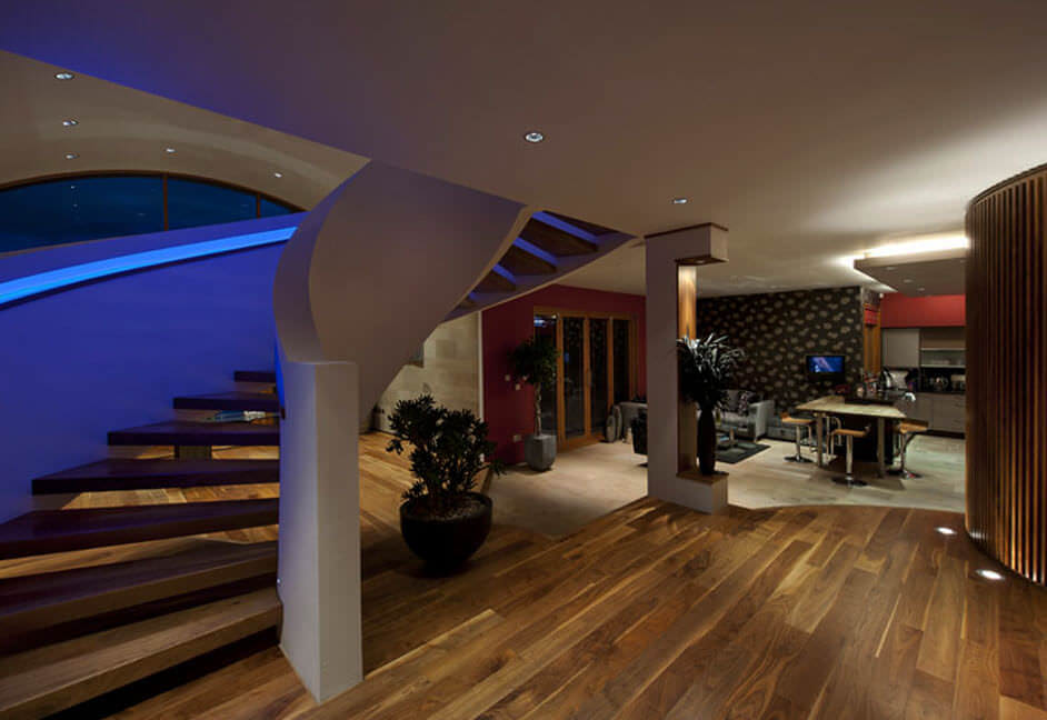 Large staircase in home with full AV and lighting control